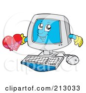 Royalty Free RF Clipart Illustration Of A Happy Computer Character Holding A Heart