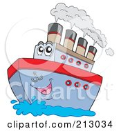 Royalty Free RF Clipart Illustration Of A Happy Boat Character With Steam by visekart