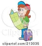 Royalty Free RF Clipart Illustration Of A Happy Brunette Woman Traveler Holding A Map by visekart