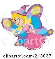 Royalty Free RF Clipart Illustration Of A Happy Blond Fairy With Butterfly Wings by visekart
