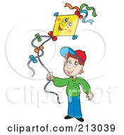 Royalty Free RF Clipart Illustration Of A Little Boy Flying A Happy Kite