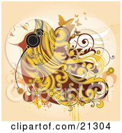 Clipart Illustration Of A Happy Woman With Blond Hair Listening To Relaxing Music Through Headphones by OnFocusMedia