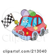 Royalty Free RF Clipart Illustration Of A Red Car Character Waving A Checkered Flag
