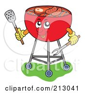 Royalty Free RF Clipart Illustration Of A Happy Barbeque Grill Holding Utensils