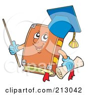 Royalty Free RF Clipart Illustration Of A Professor Book Holding A Pointer Stick