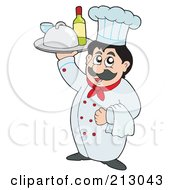 Royalty Free RF Clipart Illustration Of A Friendly Chef Holding A Platter Of Food