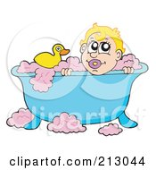 Baby Boy With A Rubber Duck In A Bubble Bath