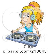 Royalty Free RF Clipart Illustration Of A Female Dj Wearing Headphones And Mixing Records by visekart