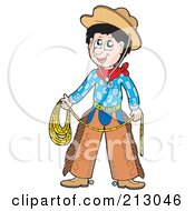 Royalty Free RF Clipart Illustration Of A Happy Cowboy Holding His Lasso by visekart