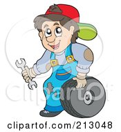 Royalty Free RF Clipart Illustration Of A Friendly Mechanic Man Changing A Tire by visekart