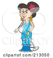 Royalty Free RF Clipart Illustration Of A Happy Woman Singing Into A Microphone