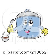 Happy Pot Character Holding A Ladle Of Soup