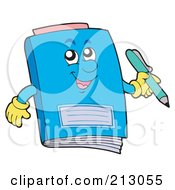 Royalty Free RF Clipart Illustration Of A Happy Blue Notebook Holding A Pencil by visekart