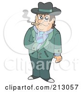 Royalty Free RF Clipart Illustration Of A Smoking Ganster Reaching Into His Jacket