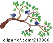 Royalty Free RF Clipart Illustration Of Three Blue Birds On A Tree Branch