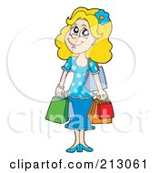 Royalty Free RF Clipart Illustration Of A Happy Shopping Woman by visekart