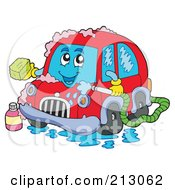Royalty Free RF Clipart Illustration Of A Red Car Character Bathing by visekart