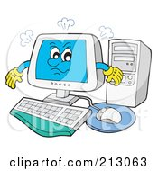 Royalty Free RF Clipart Illustration Of A Smoking Mad Computer by visekart
