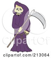 Royalty Free RF Clipart Illustration Of A Grim Reaper With A Skull Face Wearing A Purple Cloak