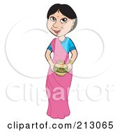 Royalty Free RF Clipart Illustration Of An Asian Woman In A Pink Sari by visekart