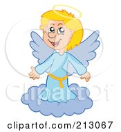 Royalty Free RF Clipart Illustration Of A Happy Blond Angel Girl On A Cloud