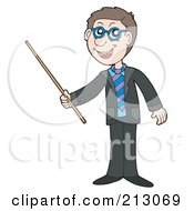 Royalty Free RF Clipart Illustration Of A Happy Businessman Using A Pointer Stick