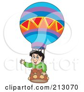 Royalty Free RF Clipart Illustration Of A Happy Boy Riding In A Hot Air Balloon