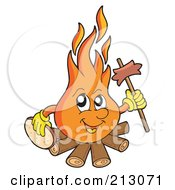 Royalty Free RF Clipart Illustration Of A Happy Flame Holding A Stick And Sausage