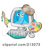 Royalty Free RF Clipart Illustration Of A Happy Computer Character Painting