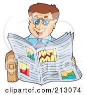 Royalty Free RF Clipart Illustration Of A Happy Businessman Reading A Newspaper