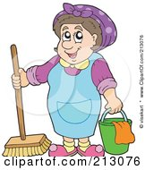 Friendly Cleaning Lady With A Bucket And Broom