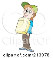 Royalty Free RF Clipart Illustration Of A Happy Boy Carrying A Cardboard Box by visekart
