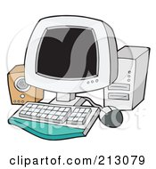 Royalty Free RF Clipart Illustration Of A Computer With A Speaker