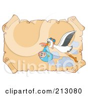 Royalty Free RF Clipart Illustration Of A Stork Carrying A Baby Over Old Parchment Paper