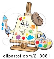 Royalty Free RF Clipart Illustration Of A Canvas Character Painting by visekart