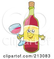 Royalty Free RF Clipart Illustration Of A Friendly Wine Character Holding A Glass
