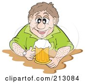 Royalty Free RF Clipart Illustration Of A Happy Man Sitting With A Mug Of Beer by visekart