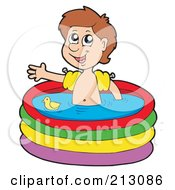 Royalty Free RF Clipart Illustration Of A Little Boy Waving And Soaking In A Pool by visekart
