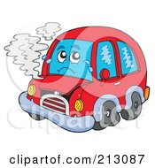 Royalty Free RF Clipart Illustration Of A Sad Broken Down Car