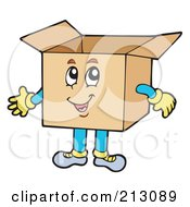 Royalty Free RF Clipart Illustration Of A Happy Box Character Smiling by visekart
