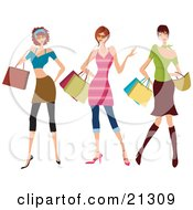 Clipart Illustration Of Three Young Sassy Caucasian Women Wearing Fashionable Clothes Carrying Shopping Bags And Purses And Shopping At The Mall