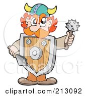 Royalty Free RF Clipart Illustration Of A Mad Viking Wearing A Shield And Holding Weapons