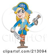 Royalty Free RF Clipart Illustration Of A Happy Pirate Woman