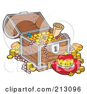 Royalty Free RF Clipart Illustration Of A Treasure Chest With Golden Coins Pearls And A Crown