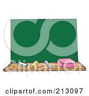 Royalty Free RF Clipart Illustration Of Chalk An Eraser And Blank Board by visekart