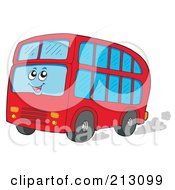 Royalty Free RF Clipart Illustration Of A Happy Double Decker Bus