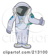 Royalty Free RF Clipart Illustration Of A Suited Astronaut Holding A Thumb Up by visekart