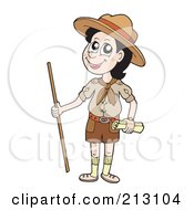 Royalty Free RF Clipart Illustration Of A Happy Scout With A Walking Stick by visekart