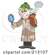 Royalty Free RF Clipart Illustration Of A Detective Smoking A Pipe And Holding A Magnifying Glass