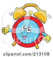 Royalty Free RF Clipart Illustration Of A Friendly Alarm Clock Character Waving